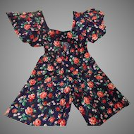 Rose Print Cotton Doll Romper