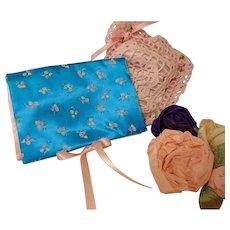 Blue Satin Boudoir Handkerchief Case-Beautiful