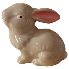 Adorable Gray Pottery Easter Rabbit