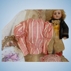 Charming Antique Striped Silk Doll Shirtwaist
