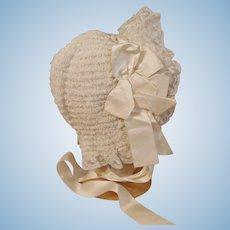 Scrumptious Antique French Doll Bonnet-Silk, Silk, Silk