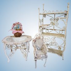 Chippy White Metal Gingerbread Doll Furniture