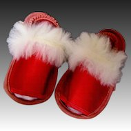Elegant Red Satin Doll Slippers-1949