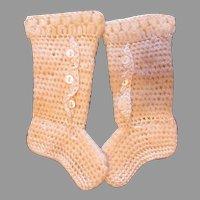 Elegant Antique Long Doll Booties/Stockings