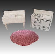 Vintage Wooden Doll House Stove, Rug and Farm Sink