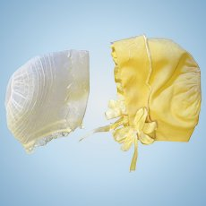 Two Heirloom Baby Bonnets
