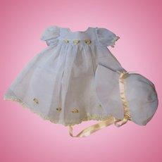 Gorgeous Dy Dee Baby Organdy Dress & Bonnet