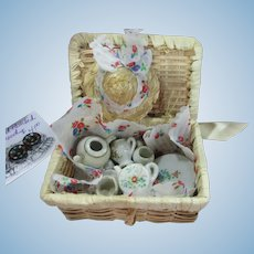 Small Wicker Picnic Basket, Dishes, Cloth, and Tiny Straw Hat!