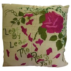 Fabulous Antique Embroidered Pillow!  Roses