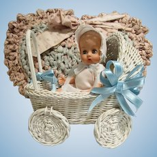 Darlin' Ginnette Type Doll & Wicker Carriage
