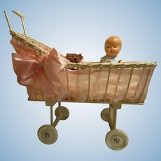 Marvelous Old Fashioned Wicker Baby Doll Carriage