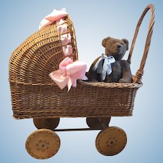Wonderful Vintage Wicker Doll Carriage-1930's-50s
