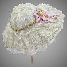 Graceful Antique Lace Doll Picture Hat