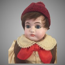 Somber Antique German Composition Doll Head