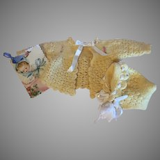Cuddly Yellow Wool Baby Doll Sweater & Bonnet-1940s