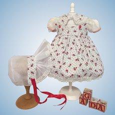 Delightful 1950's Cotton Doll Dress & Bonnet-Roses!