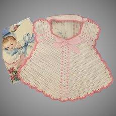 Pink & White Vintage Knit Doll Bib