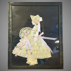 Dainty Vintage Silk Ribbon Paper Doll Picture-1920