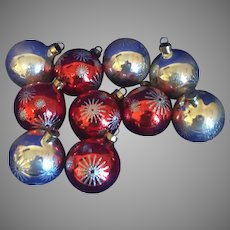 Ten Sparkling Vintage Christmas Ornaments-Silver Glitter