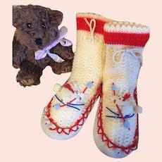 Vintage Toddler Slipper Socks-Red
