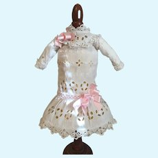 White Eyelet Bisque Doll Dress