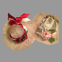 Two Pretty Springtime Doll Hats