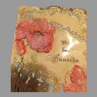 Antique German Celluloid Greeting Card