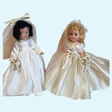 Two Vintage Bride Dolls