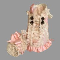 Stunning Silk Mignonette Doll Dress & Bonnet
