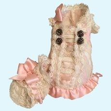 Stunning Silk Mignonette Doll Dress & Bonnet