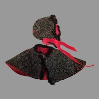 Cozy Vintage Doll Cape and Hat
