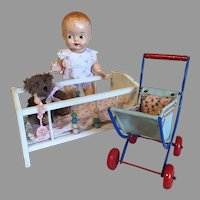Charming Vintage Baby Doll Crib & Carriage