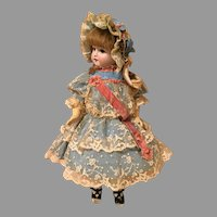 Wonderful Doll Dress & Bonnet-Turquoise Silk