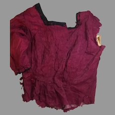 Antique Raspberry Silk Bodice