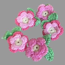 Pretty Handmade Pink Crochet Flowers