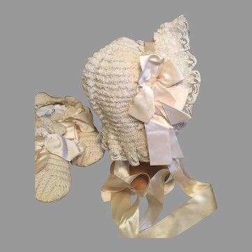 Luscious Antique Doll Bonnet-Silk, Silk, Silk!