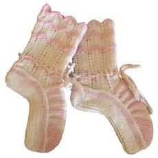 Precious Hand Knit Antique Booties