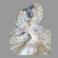 Luscious Antique Lace French Doll Bonnet