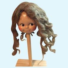 Rare Long Human Hair Doll Wig