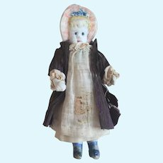 Antique All Bisque Bonnet Head Doll