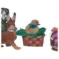 Stuffed Duckling In Vintage Easter Basket