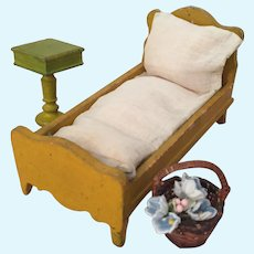 Vintage Wooden Doll Bed & Table