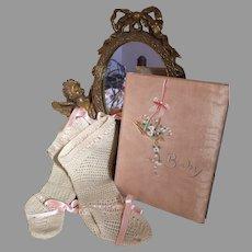 Wonderful Vintage Long Baby Stockings & Baby Book