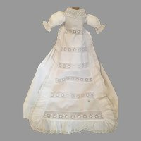 Long Antique Doll Gown-White Anglaise