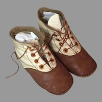 Antique Two Tone Doll Shoes