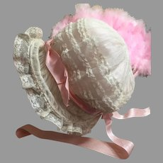 Delicious Antique Tulle Lace Doll Bonnet-Wired Brim