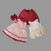 Cutest Antique Knit Doll Costume-Four Pieces