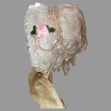 Divine Antique Bonnet!  Lace Frosted!
