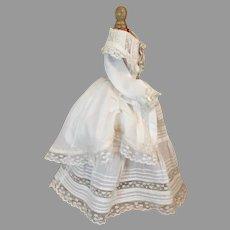 Beautiful White Polonaise French Fashion Doll Costume