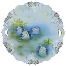 RS Prussia Icicle Mold Cake Plate with Swan Decoration